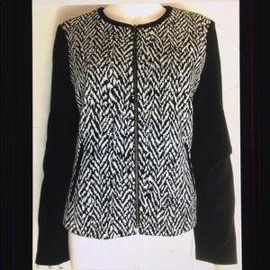 Talbots Petite Geometric Jersey Zip Blazer Jacket